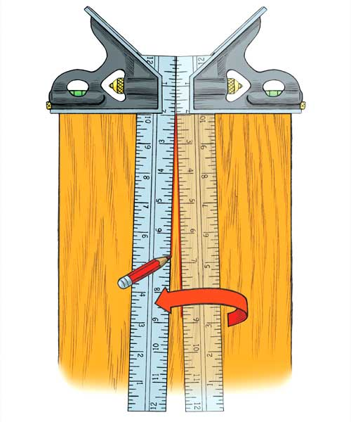 illustration of how to tell if your your combination square is square as part of a this old house tool test