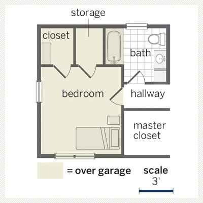floor plan for above-the-garage addition