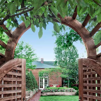 arched wisteria entry from back alley