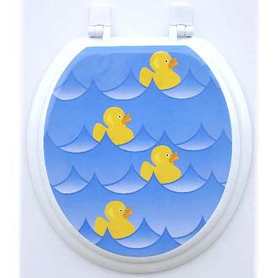 Toilet seat appliqués made of plastic film from Toilet Tattoos
