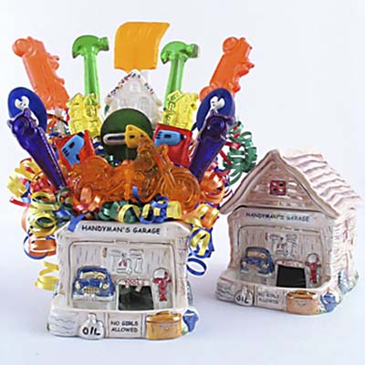 Handyman Garage Lillipop/ Candy gift basket