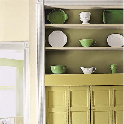 a built-in has shelves up top to display serving pieces
