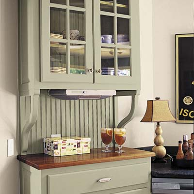 glass- front hutch with a raised butcher block