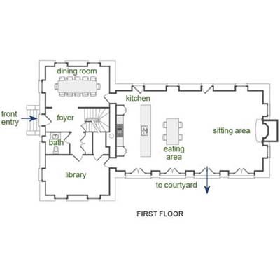 First Floor Plan for converted Carriage House