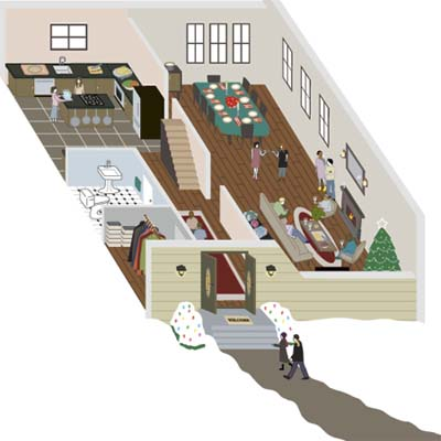 callout illustration of house with rooms seen from above and guests within and without it