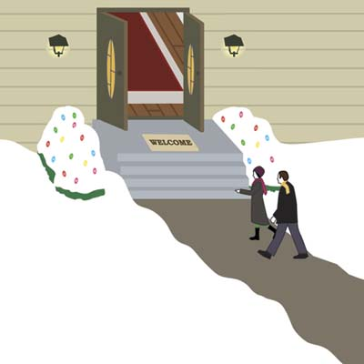 illustration closeup of couple entering set of double front entry doors