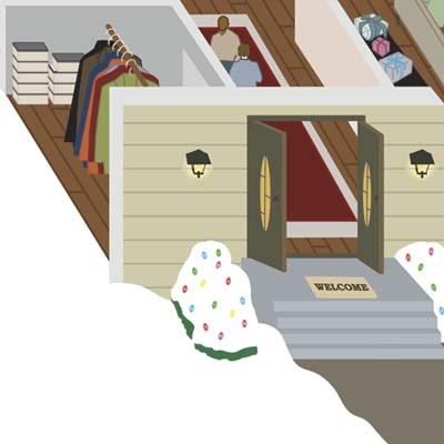 closup illustration of entryway and front hallway with guests arriving and coatrack