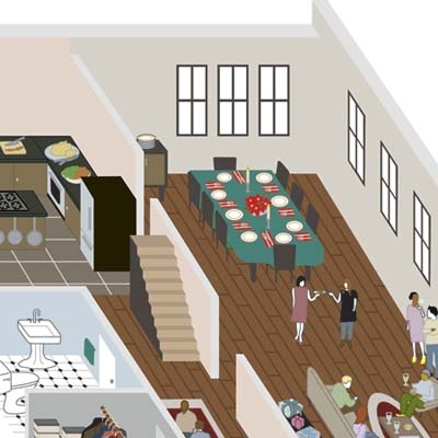 closeup illustration of dining area with set table, kitchen area to the left