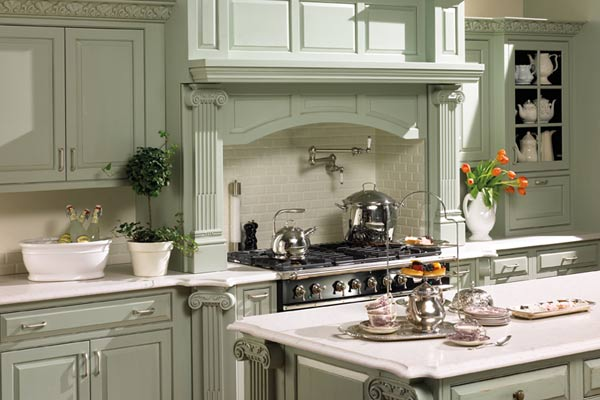 light green kitchen with white quartz kitchen countertops