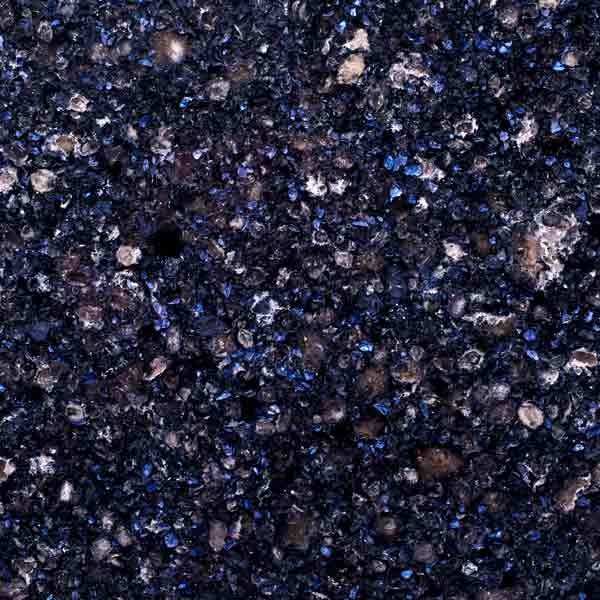 Blue and charcoal pieces in quartz countertop Waterford, Cambria