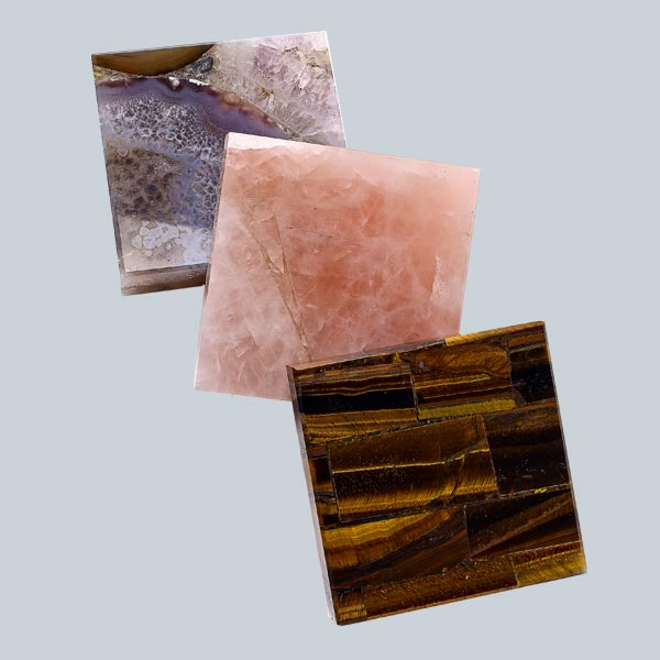 brown agate, rose quartz and tiger eye used as alternatives for quartz countertop