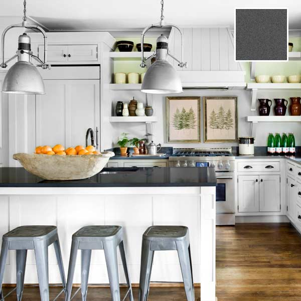 White Kitchen Cabinets With Gray Countertops: Quartz Counters To Suit Every Style: Relaxed Farmhouse