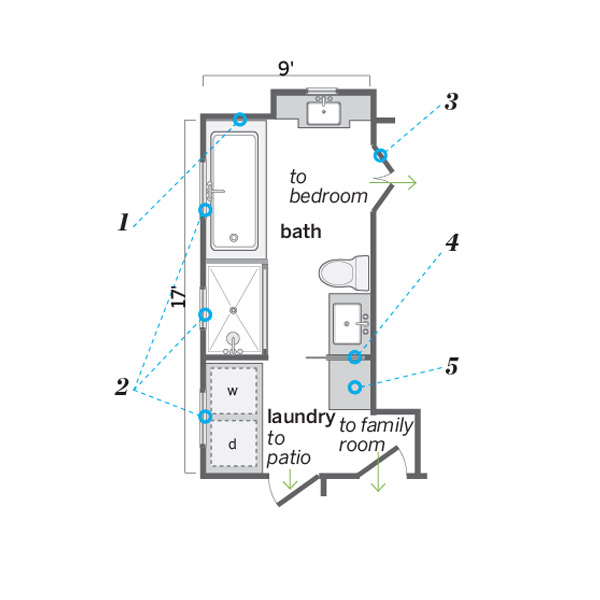 Floor plan after lofty expanded space a luxe light for Laundry bathroom floor plans