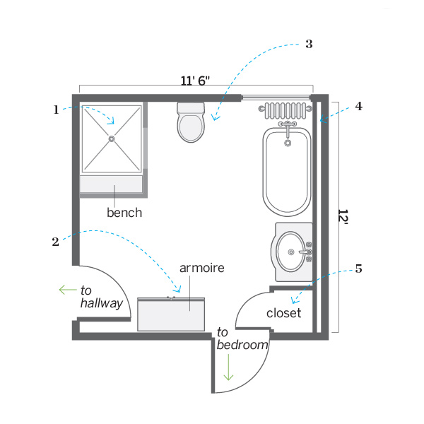 Floor plan after good flow opening up a bath for better for Bathroom designs 12x8