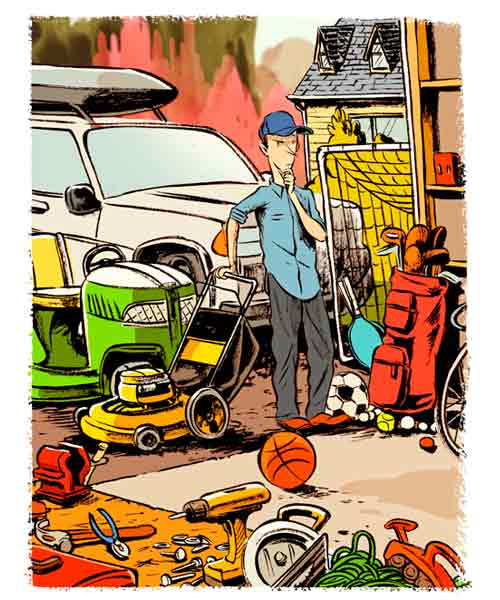 illustration of man thinking about organizing his messy garage