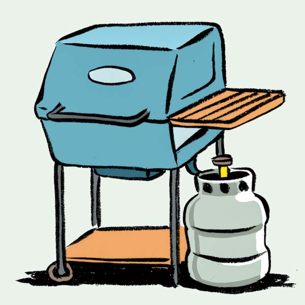 illustration of grill with propane tank