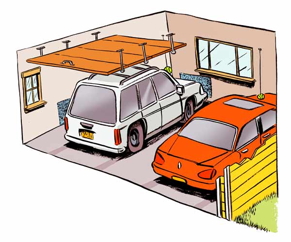 read before you organize your garage illustration of car pulling into garage