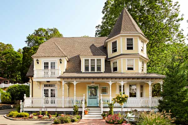 curb appeal boost on budget yellow queen anne mansion