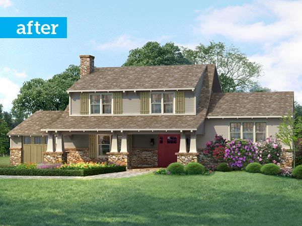 after the photoshop redo remodel from colonial to bungalow