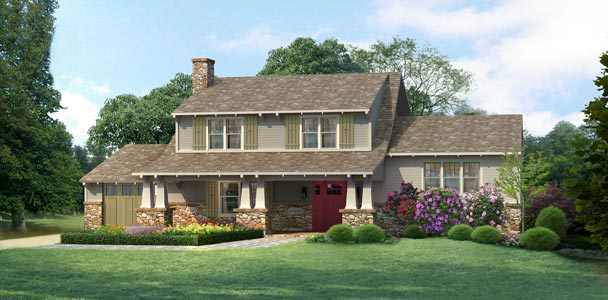 Photoshop remodel of a colonial to a Bungalow design