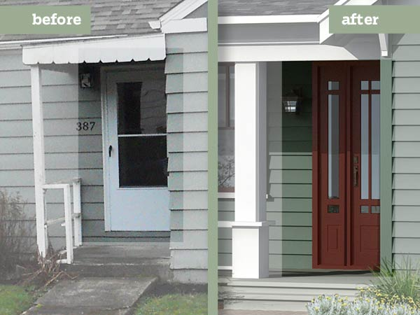 before and after Photoshop redo Arts and Crafts exterior focused on front door