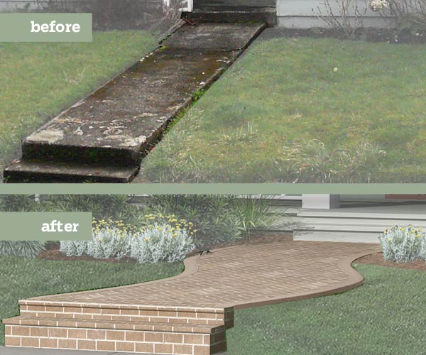 before and after Photoshop redo Arts and Crafts exterior focused on front walkway