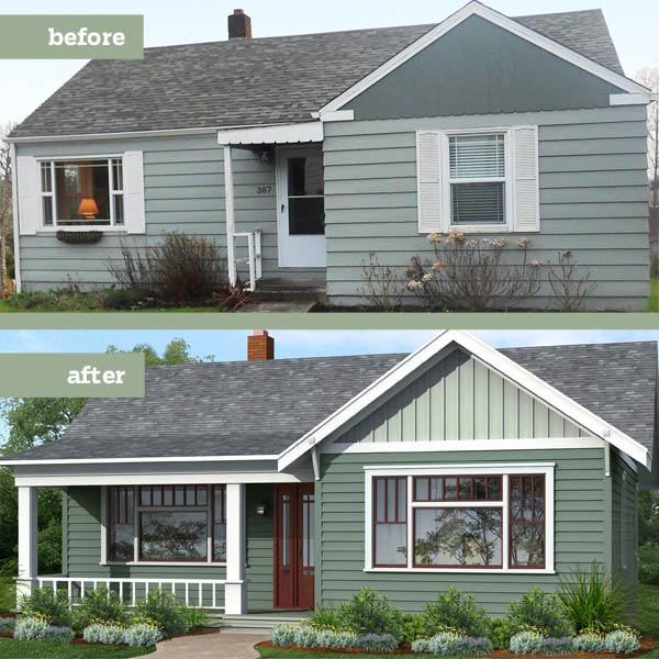 before and after Photoshop redo Arts and Crafts exterior focused on the siding