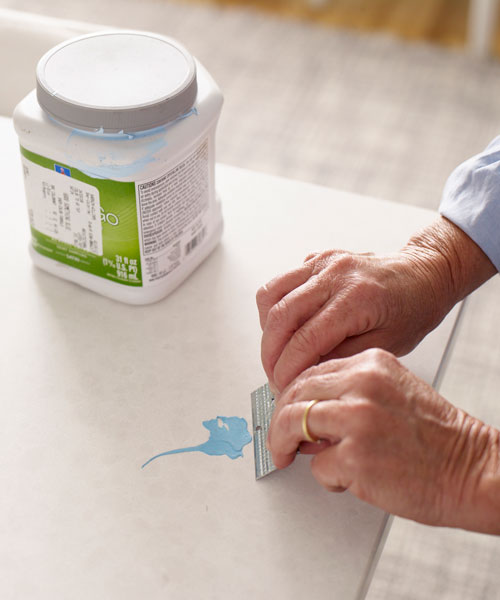 scraping away sticky residue with drywall corner bead, 10 uses