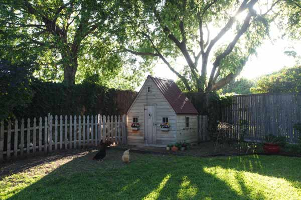 build a better chicken coop with flower boxes, scallped trim, red tin roof for cottage charm