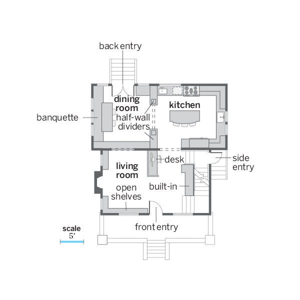 whole house remodel bungalow floor plan illustration