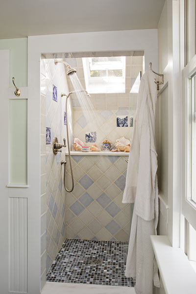 farmhouse whole house remodel master bathroom with skylight in shower, shower enclosure with tile