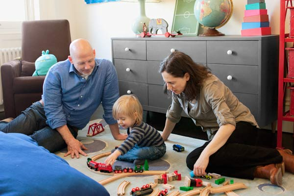this old house editor Scott omelianuk with family, colorful rowhouse remodel