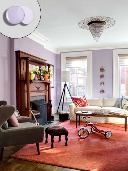 living room with Valspar Midsummer Twilight and Brushed Lavender mixed purple walls, Pantone Color of the Year Radiant Orchid