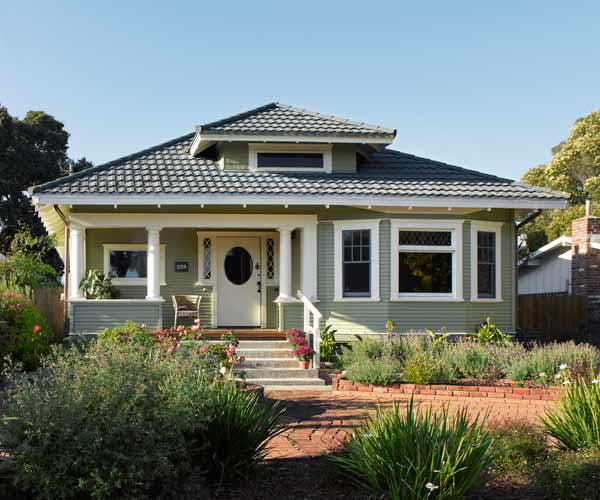exterior of classic craftsman green remodel
