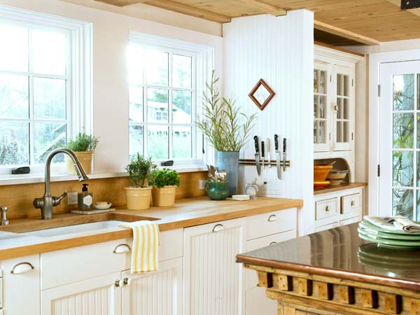 cottage kitchen with beadboard cabinets, butcher block countertop, pine ceiling, farmhouse remodel with barn addition