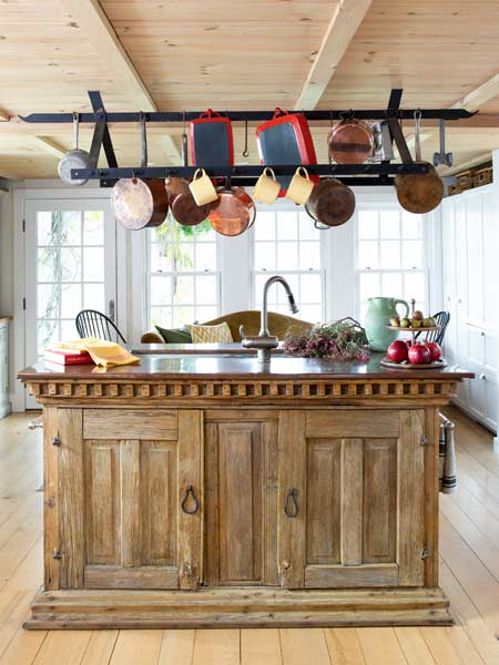 antique chest retrofitted as kitchen island, farmhouse remodel with barn addition
