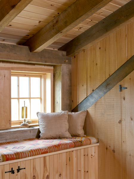 built-in nook with storage, farmhouse remodel with barn addition
