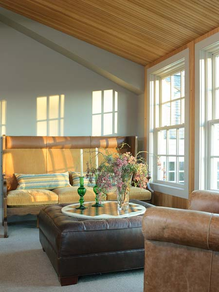lounge area in master bedroom, farmhouse remodel with barn addition