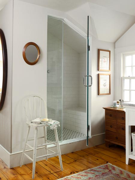 master bath with steam shower, farmhouse remodel with barn addition