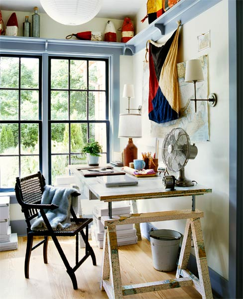 a home office with nautical-themed accents