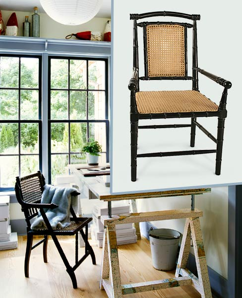 a home office with inset of a similar woven cane chair