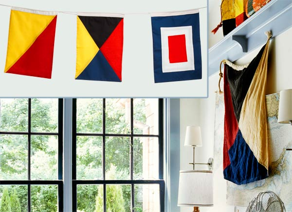 a home office with inset of nautical signal flags similar to the one in the room