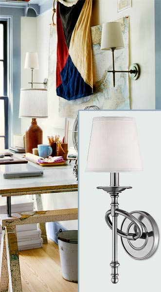 a home office with inset of a wall sconce similar to the sconces in the room