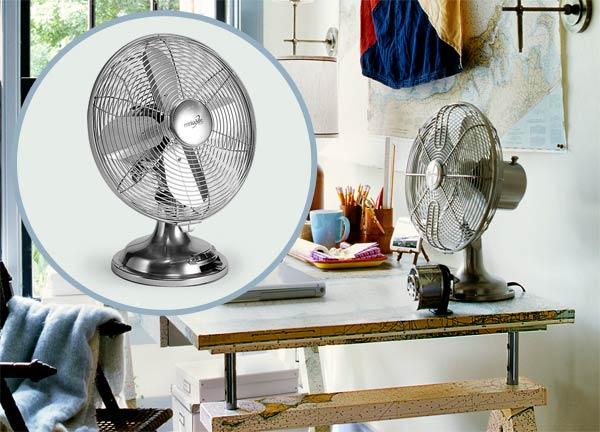 a home office with inset of a vintage metal fan similar to the one on the desk