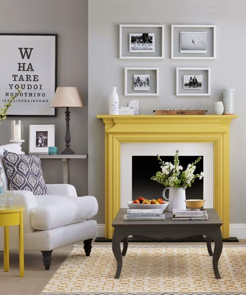 yellow painted mantel in gray and white living area, paint ideas for mantels