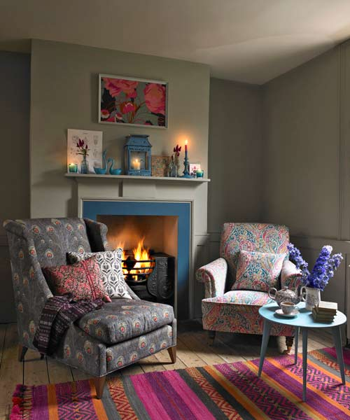 blue painted fireplace surround, paint ideas for mantels