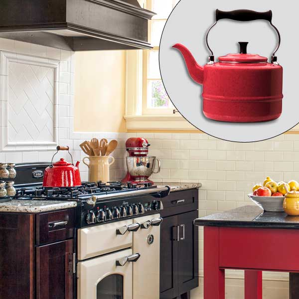 get this look british cottage style kitchen with red enameled-steel tea kettle