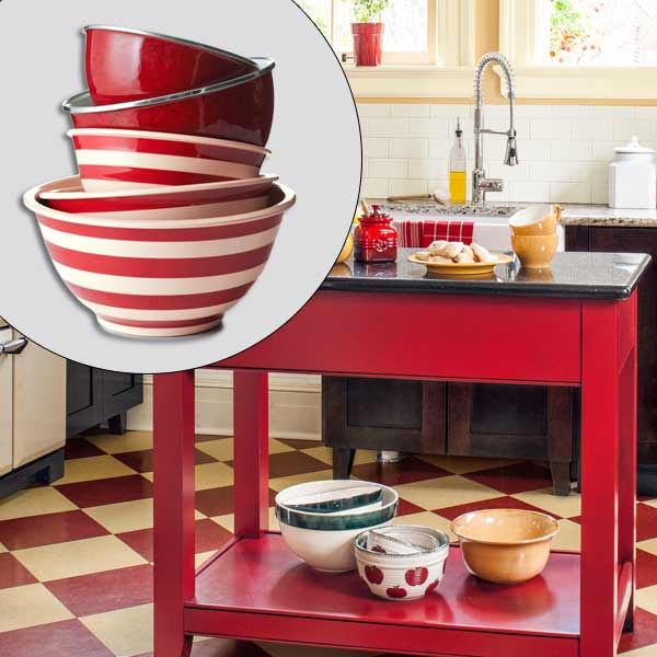 get this look british cottage style kitchen with red and striped mixing bowls