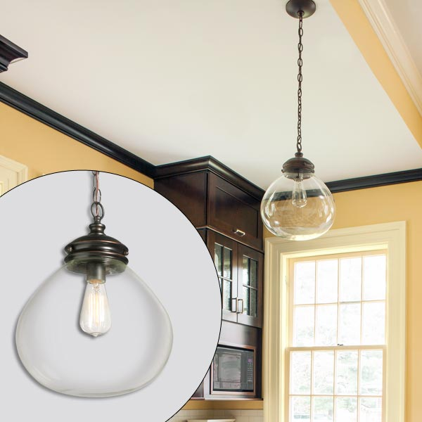 get this look british cottage style kitchen with clear glass pendant globe Edison bulb