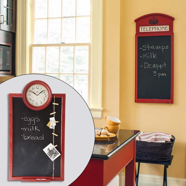 get this look british cottage style kitchen with blackboard message center with red frame